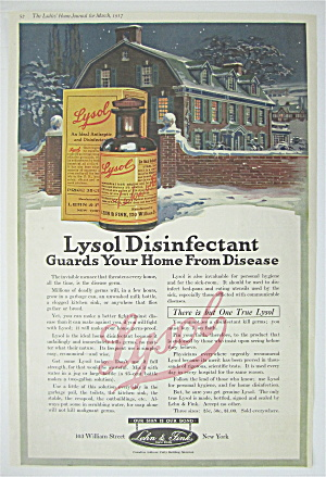 1917 Lysol Disinfectant With A House With Lights On