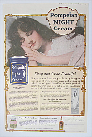 1917 Pompeian Night Cream With Woman Sleeping