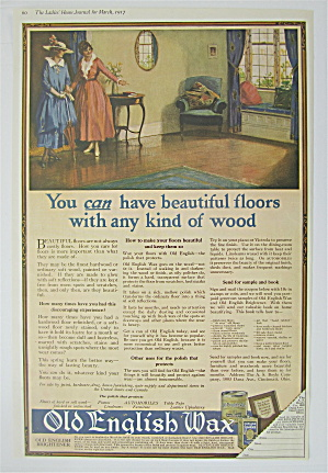 1917 Old English Wax With Woman Looking At Clean Floor