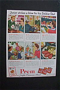 1944 Dual Ad: Prem Meat & Ford Motor Company