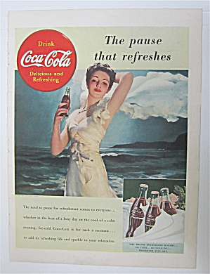 1943 Coca Cola (Coke) W/ Lovely Woman & Bottle Of Soda