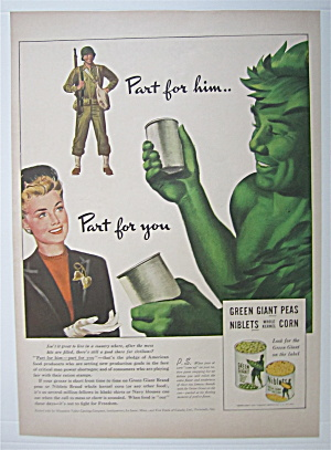 1943 Green Giant Niblets & Peas W/green Giant & Woman