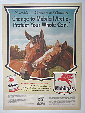 1943 Mobil Gas & Mobil Oil With Two Horses