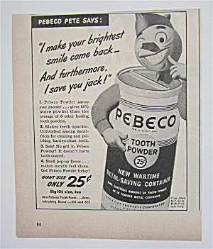 1944 Pebeco Tooth Powder With Pebeco Pete