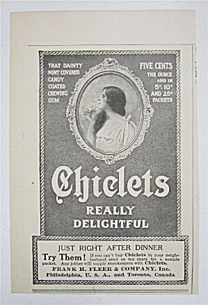 1909 Chiclets With Side View Of Lovely Woman