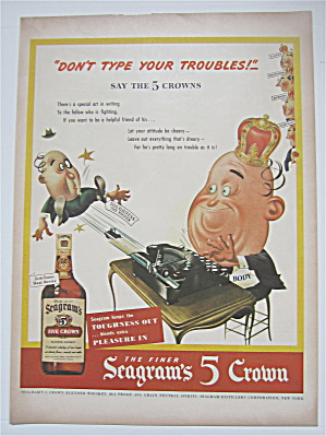 1944 Seagram's 5 Crown Whiskey With Man Typing
