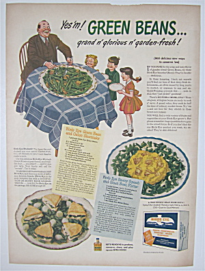 1944 Green Giant Green Beans W/ Man Serving Children