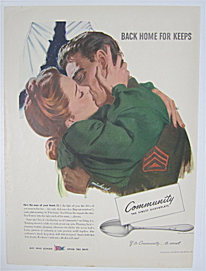 1944 Community Silver Plate w/ Woman & Soldier Kissing (Image1)