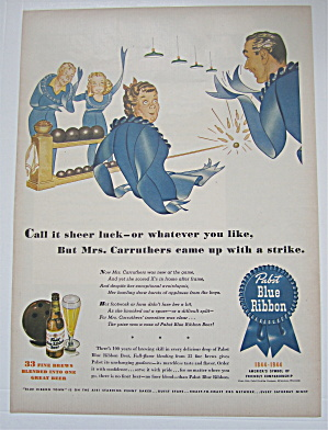 1944 Pabst Blue Ribbon Beer With Ribbon Family Bowling