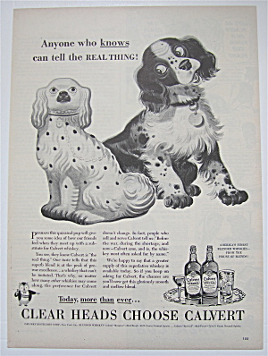 1944 Calvert Whiskey with Dog Looking at Dog Statue (Image1)