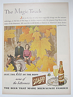 1944 Schlitz Beer With Man & Woman On A Horse