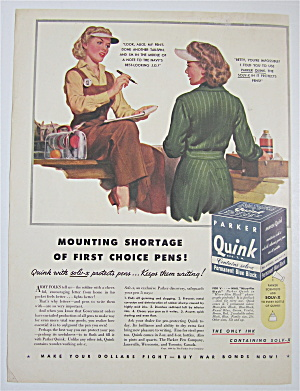 1944 Parker Quink Ink With Two Women Talking