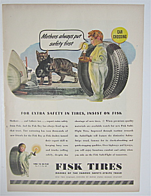 1945 Fisk Tires with Little Boy Looking at Cats  (Image1)