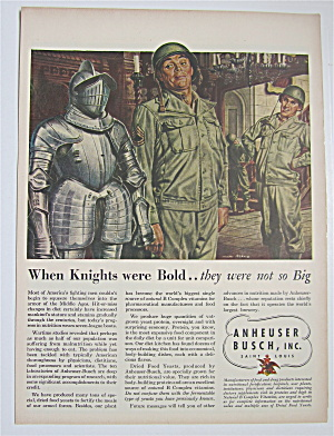 1945 Anheuser Busch With Military Man & Knight In Armor