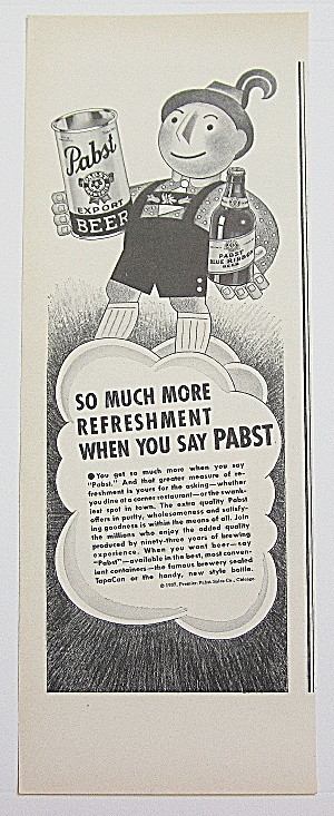 1937 Pabst Beer With Man Holding Can & Bottle Of Beer