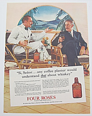 1937 Four Roses Whiskey with Men Talking while Drinking (Image1)