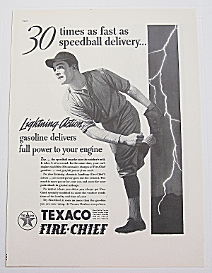 1937 Texaco Fire Chief Gas With Boy Pitching