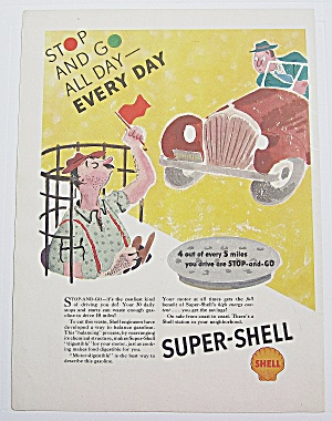 1937 Super Shell Gas W Man In Manhole While Waving Flag