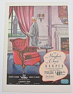 1937 Karpen Mayfair Chair With Man Standing By Chair