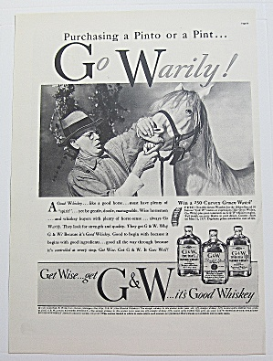 1937 G & W Whiskey With Man Looking At Horse's Teeth (Image1)