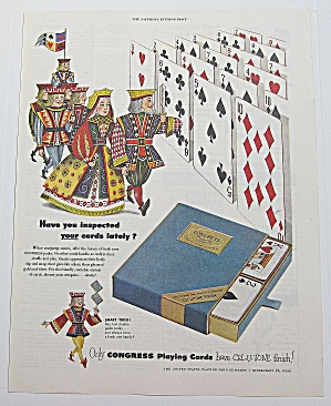 1952 Congress Playing Cards With King & Queen