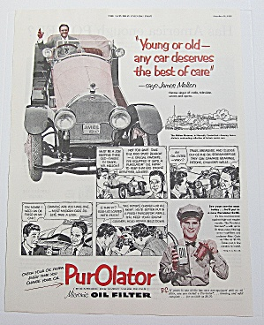 1952 Purolator Oil Filter W/ Radio & Tv's James Melton