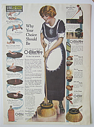 1914 O-Cedar Polish Mop with Woman Cleaning  (Image1)