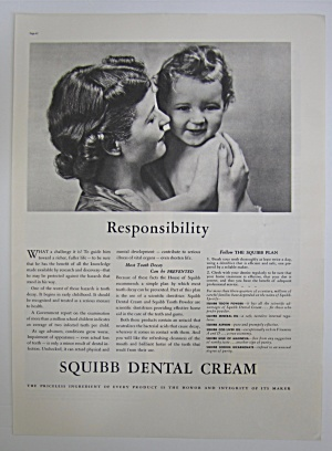 1937 Squibb Dental Cream with Woman Holding Baby  (Image1)