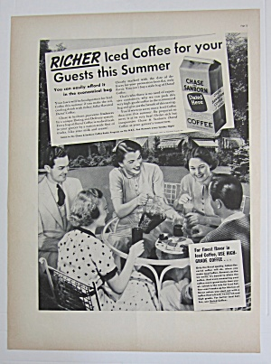 1937 Chase & Sanborn Coffee With People & Iced Coffee