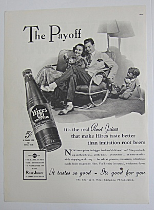 1937 Hires Root Beer With Man Handing Boy A Bottle
