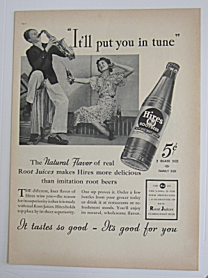 1937 Hires Root Beer With Boy Playing The Trumpet