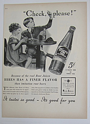 1937 Hires Root Beer With Boy & Girl Drinking Root Beer