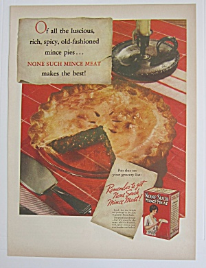1937 None Such Mince Meat With Mince Meat Pie