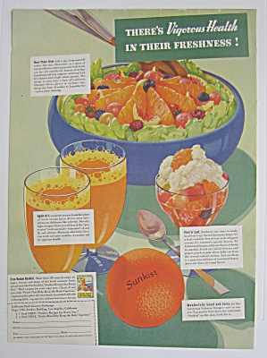 1937 Sunkist Oranges With Vigorous Health