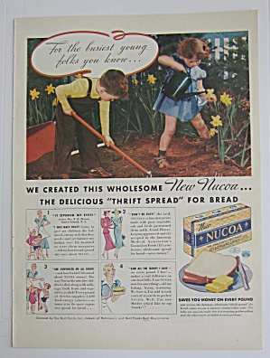 1937 Nucoa Margarine With Two Children Gardening
