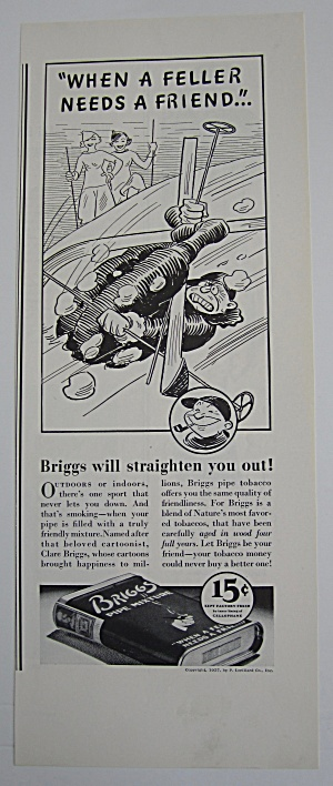 1937 Briggs Pipe Mixture Tobacco With Man Skiing