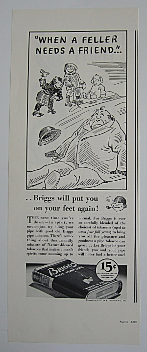 1937 Briggs Pipe Mixture Tobacco With Children On Sled