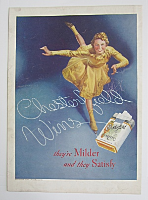 1937 Chesterfield Cigarettes With Woman Skating