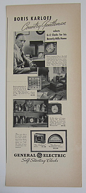 1937 General Electric Clocks With Boris Karloff
