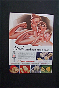 1942 Dual Vintage Ad: A & P Dairy Dept. & Spam (Image1)