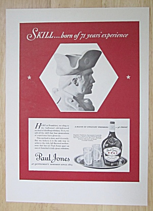 1937 Paul Jones Whiskey With Bust Of A Soldier