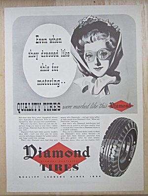 1937 Diamond Tires With Lovely Woman's Face