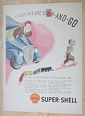 1937 Super Shell Gas With Boy Pulling Train