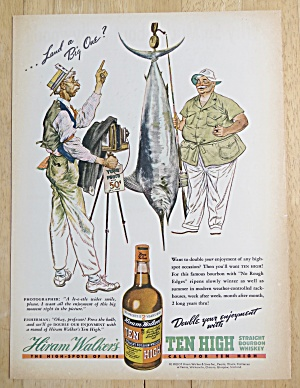 1938 Ten High Whiskey with Man Taking Picture with Fish (Image1)
