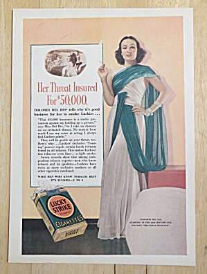 1938 Lucky Strike Cigarettes With Dolores Del Rio