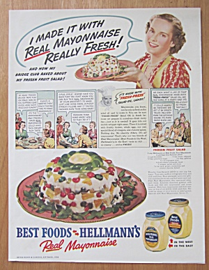 1938 Hellman's Mayonnaise With Frozen Fruit Salad