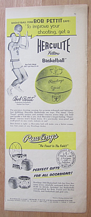 1938 Herculite Yellow Basketball with Bob Pettit (Image1)