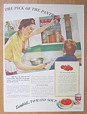 1939 Campbell's Tomato Soup With Woman & Little Boy
