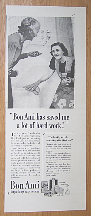 1939 Bon Ami With Woman Cleaning Bathtub