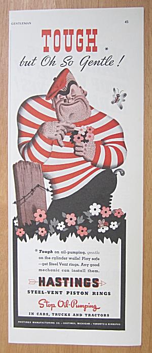 1939 Hastings Steel Vent Piston Rings w/ Man & Flowers (Image1)